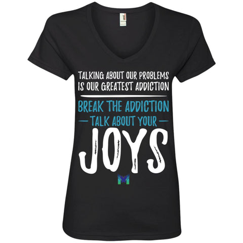 """Talk About Your Joys"" - Women's Shirts-Apparel-V-Neck-Black-S-The Miracles Store"