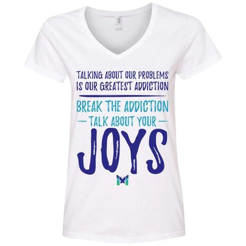 """Talk About Your Joys"" - Women's Shirts-Apparel-V-Neck-White-S-The Miracles Store"