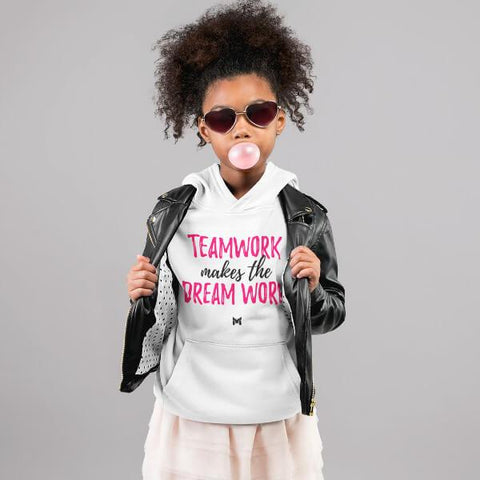 """Teamwork Makes The Dream Work"" Girls Youth Hoodie-Sweatshirts-The Miracles Store"