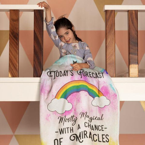 """Today's Forecast - Mostly Magical"" Plush Fleece Blanket-Blankets-The Miracles Store"