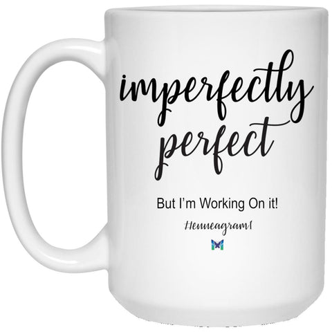"Type 1 ""Imperfectly Perfect"" - Enneagram Coffee Cup-Apparel-White-Large (15oz)-The Miracles Store"