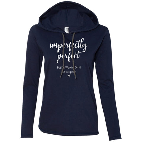 "Type 1 - ""Imperfectly Perfect"" Women's Lightweight T-Shirt Hoodie-Apparel-Navy-S-The Miracles Store"