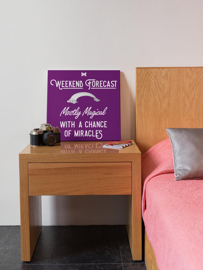 """Weekend Forecast"" - Canvas Wall Art Print-Apparel-Purple-8"" x 8"" (Small)-The Miracles Store"