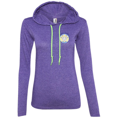 WOF Lightweight Hooded T-shirt - T-Shirts - Heather Purple/Neon Yellow - Small -