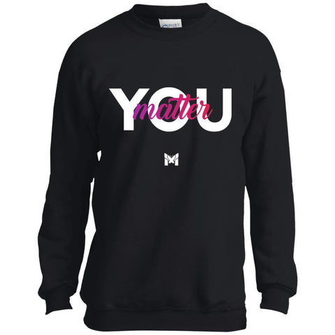 "Young Girl Wearing Black ""You Matter"" Crewneck Sweatshirt"