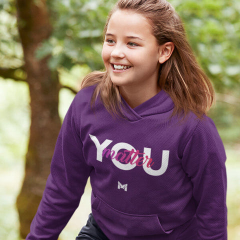 "Smiling Happy Girl Wearing Purple ""You Matter"" Sweatshirt For Kids / Youth"