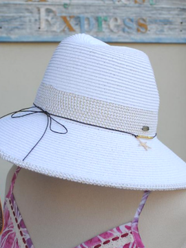 White Starfish Full Brim Hat - Summertime Boutique