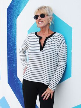 Black & White Striped Long Sleeve - Summertime Boutique
