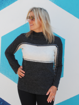 Grey Single Stripe Pullover - Summertime Boutique