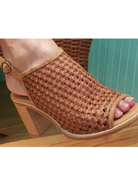 Heeled Mule - Woven leather - Summertime Boutique