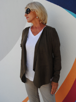 Suede Jacket in Taupe - Summertime Boutique