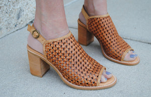 Heeled Mule - Woven leather