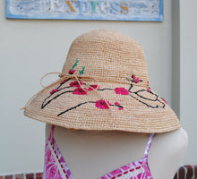 Load image into Gallery viewer, Woven Cherry Blossom Hat - Summertime Boutique