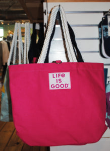 Pink Tropical Life Is Good Tote - Summertime Boutique
