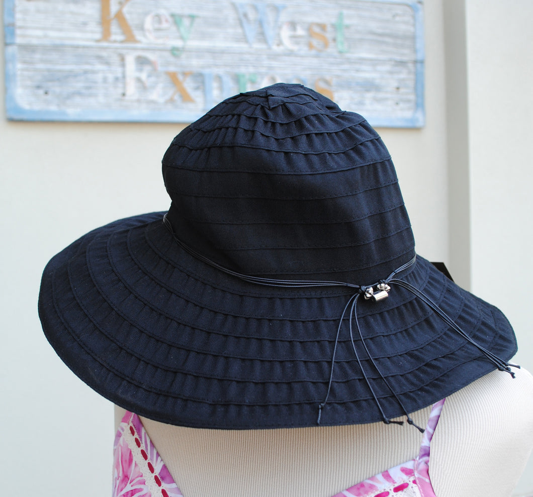 Black Pleated Full Brim Hat - Summertime Boutique