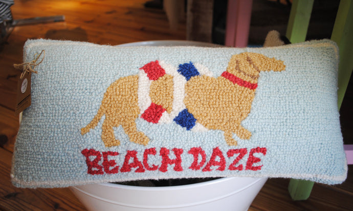 Beach Daze Dachshund Woven Pillow