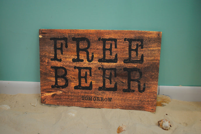 Free Beer Wood Plank - Summertime Boutique