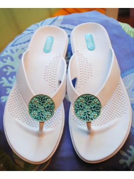 Light Blue Medallion Sandals - Summertime Boutique