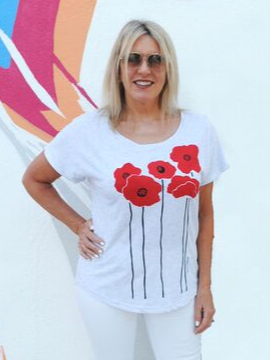 """Poppies"" shirt - Summertime Boutique"