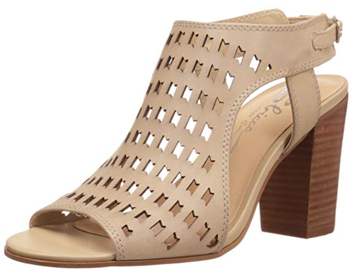 Laser Cut Beige Heel - Summertime Boutique