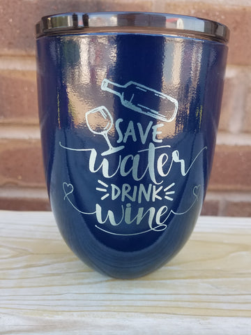 Drink wine - Navy Blue stemless 10 oz wine glass
