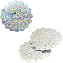 100g Flower Hologram Sequins with Hole - Silver Hologram (29mm)