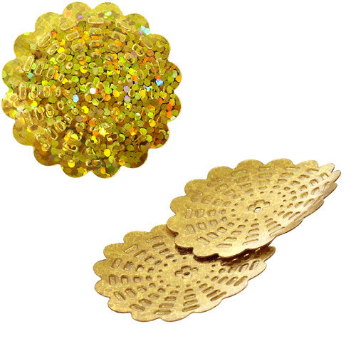 100g Flower Hologram Sequins with Hole - Marigold Hologram (29mm)