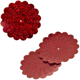 100g Flower Hologram Sequins with Hole - Red Hologram (29mm)