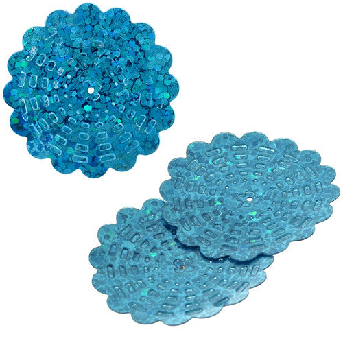 100g Flower Hologram Sequins with Hole - Aqua Hologram (29mm)