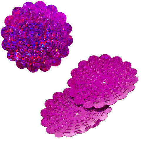 100g Flower Hologram Sequins with Hole - Fuchsia Hologram (29mm)