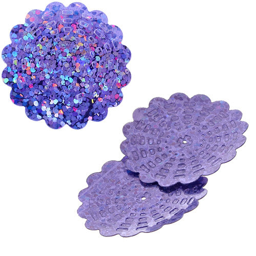 100g Flower Hologram Sequins with Hole - Lilac Hologram (29mm)