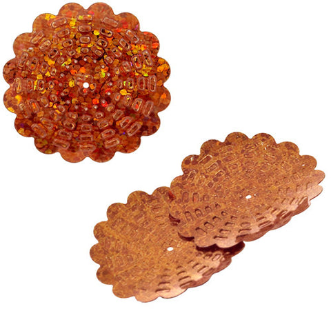 100g Flower Hologram Sequins with Hole - Orange Hologram (29mm)