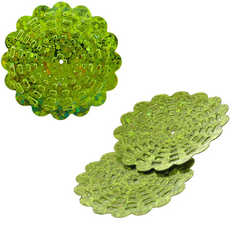 100g Flower Hologram Sequins with Hole - Lime Hologram (29mm)
