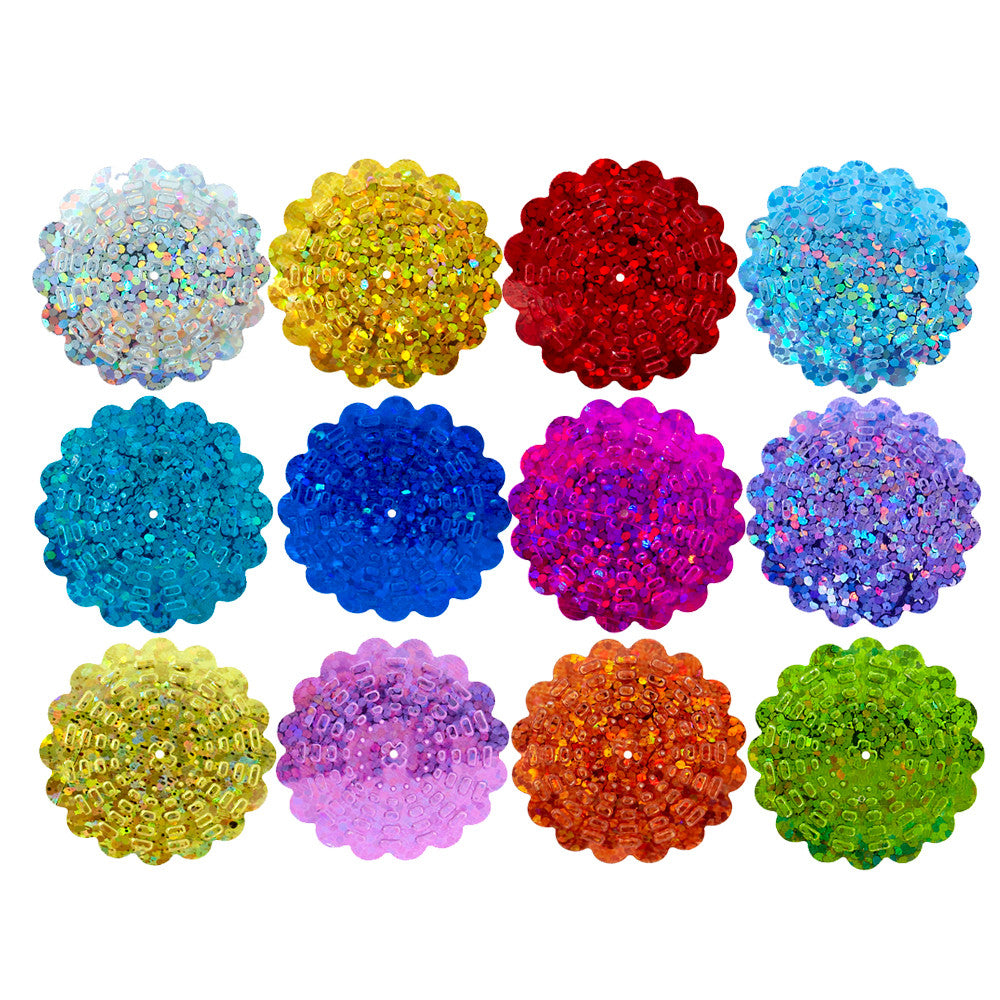 100g Flower Hologram Sequins with Hole - Yellow Hologram (29mm)