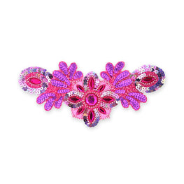 Beaded Appliqué in Fuchsia Matte AB (26x12cm)