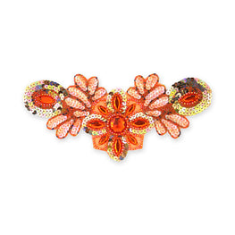 Beaded Appliqué in Orange Matte AB (26x12cm)