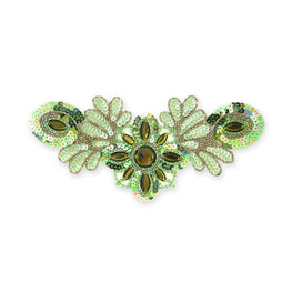 Beaded Appliqué in Peridot Matte (26x12cm)