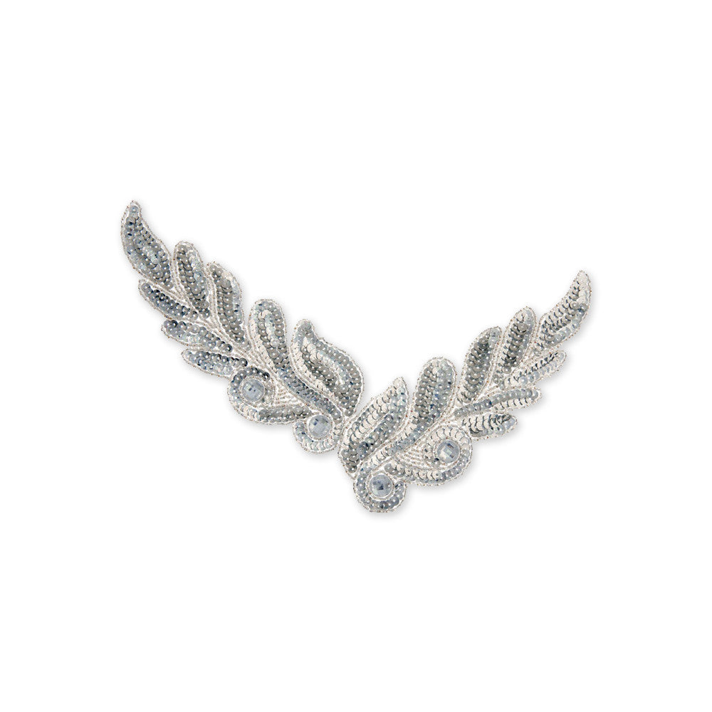 Leaf Beaded Appliqué in Silver (26x8cm)