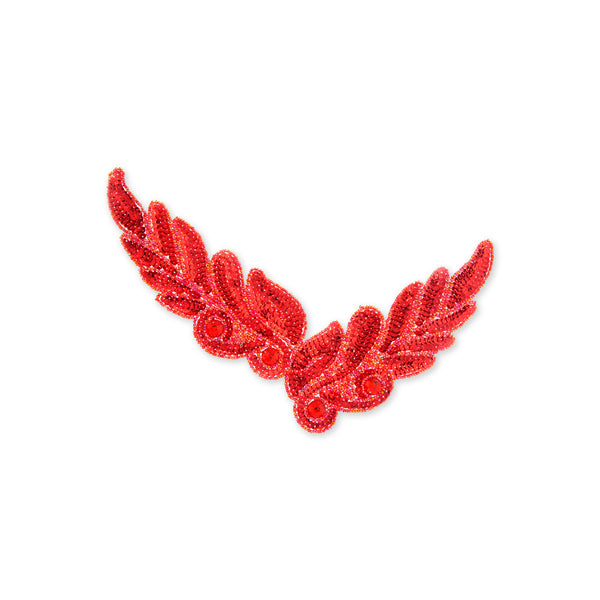 Leaf Beaded Appliqué in Red (26x8cm)