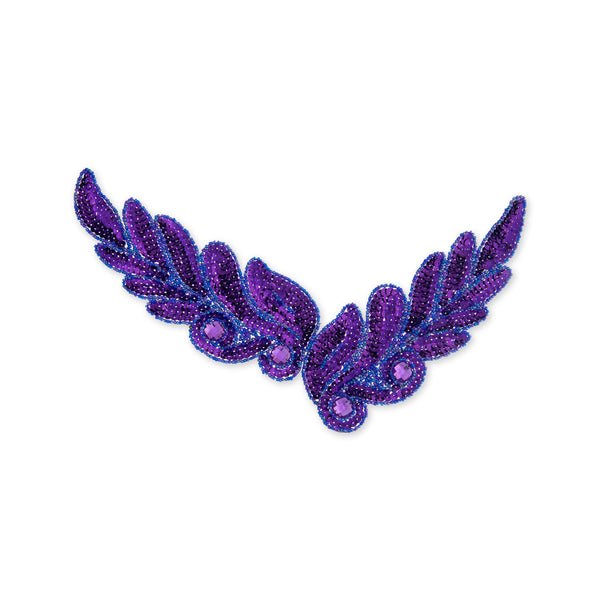 Leaf Beaded Appliqué in Purple (26x8cm)