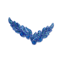 Leaf Beaded Appliqué in Royal Blue (26x8cm)