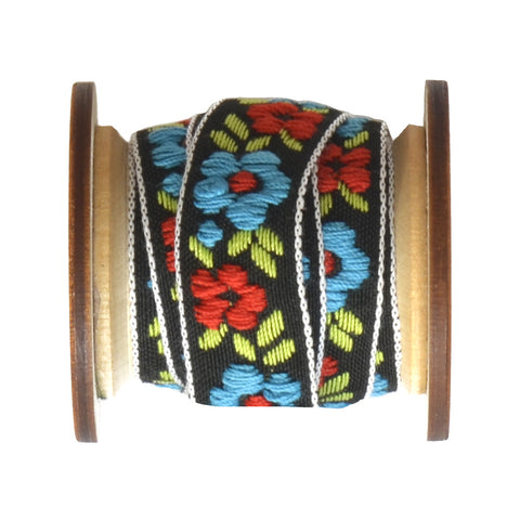 Floral Jacquard Ribbon - Red, Blue & Green - 0.6""