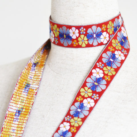"Vintage Jacquard Ribbon - Flower Power - Red (1.25"")"