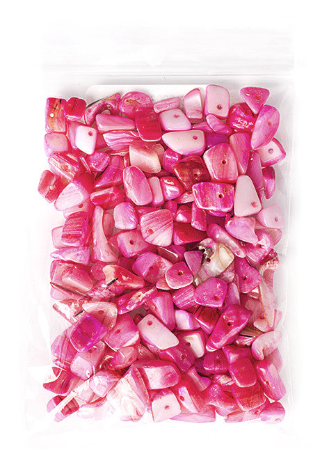 100g Semi-Precious Loose Chips - Fuchsia Dyed Mother of Pearl Mix (SP063)