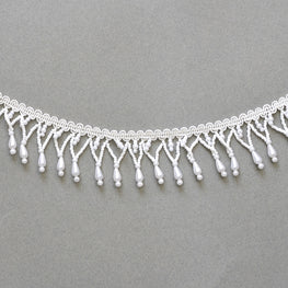 Beaded Fringe - Teardrop Trim - Pearl White - 1.6""