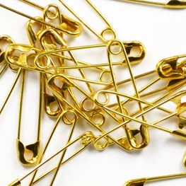 35pcs Brass Basting Safety Pins - Gold