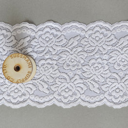 Lace Trim - Rose Floral Stretchy Wide Lace - White - 6""