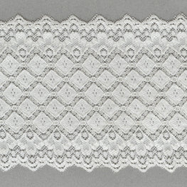 Lace Trim - Diamond Scallop Stretchy Lace - Ivory - 5""