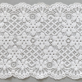 Lace Trim - Floral Diamond Scallop Stretchy Lace - Diamond White - 6""