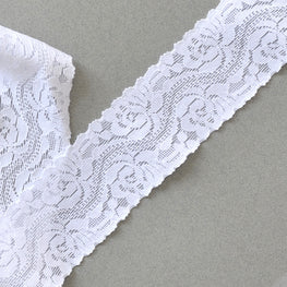 Lace Trim - Rose Floral Scallop Stretchy Lace - White - 1.6""